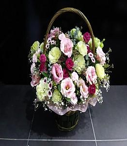 리시안서스 꽃바구니